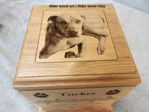 photo engraved wood pet urn