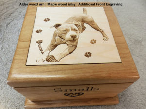 wooden dog urn laser engraved