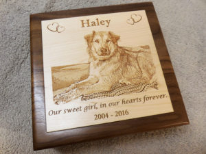 medium sized engraved pet urn