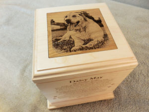 large dog urn laser engraved