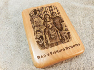 engraved fly holder fishing flies