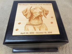 laser engraved black finish wood pet urn