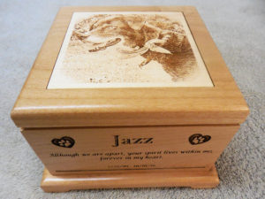 medium alder wood urn laser engraved