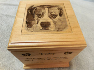wooden pet urn laser engraved toby